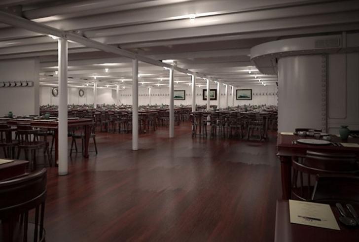 Yolcuların toplu olarak yemek yediği üçüncü sınıf yemek salonu.